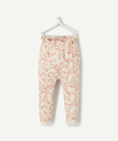 All collection radius - WHITE HAREM PANTS IN ORGANIC COTTON WITH A LEAF PRINT