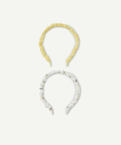 Special occasions' accessories radius - TWO YELLOW AND WHITE FLOWER-PATTERNED HEADBANDS