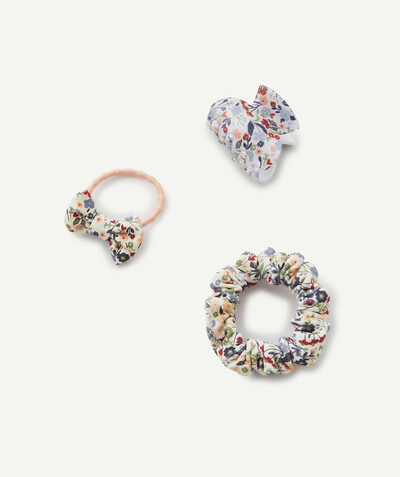 New collection radius - SET OF FLOWER-PRINTED ELASTICATED HAIR SCRUNCHIES AND CLIP