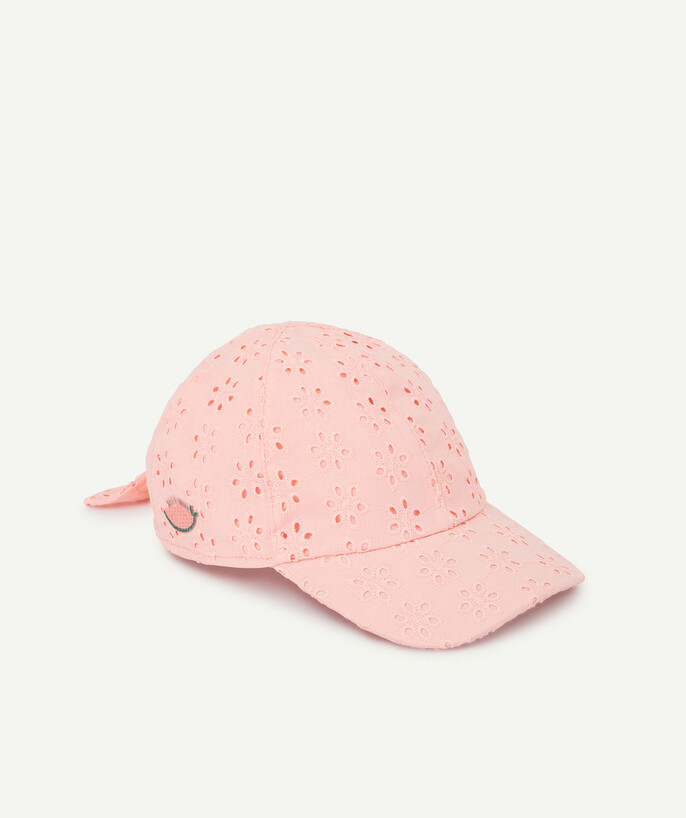 Accessories radius - PINK CAP IN COTTON WITH BRODERIE ANGLAIS