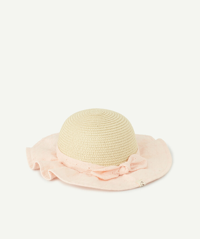 Accessories radius - STRAW HAT WITH PINK EMBROIDERED FABRIC