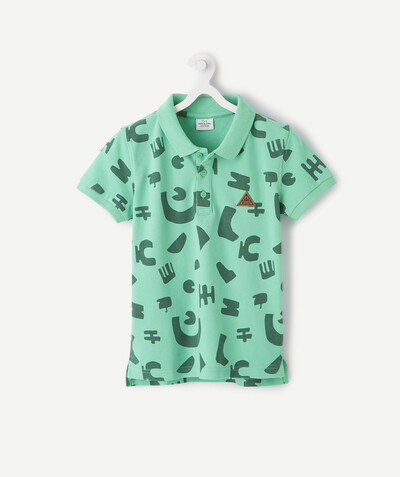 Shirt - Polo radius - GREEN PRINTED PIQUE POLO SHIRT
