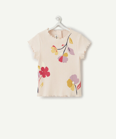 All collection radius - PINK RIBBED FLOWER-PATTERNED T-SHIRT IN ORGANIC COTTON