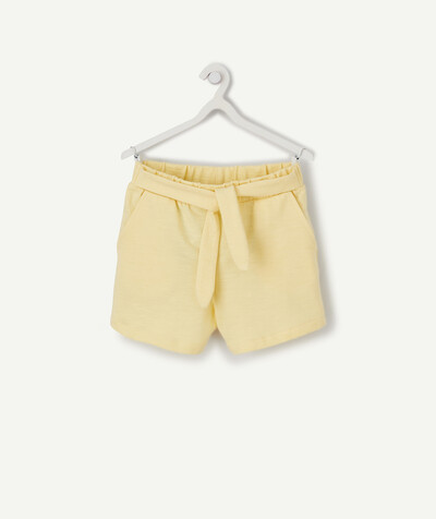 All Collection radius - STRAIGHT YELLOW SHORTS IN ORGANIC COTTON
