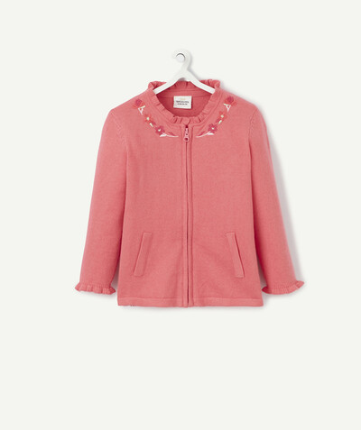 New collection radius - PINK ZIPPED JACKET WITH EMBROIDERY AND FRILLS
