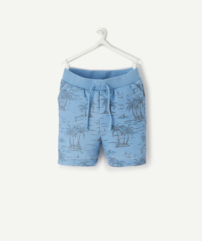All collection radius - NAVY BLUE PALM TREE PRINTED BERMUDA SHORTS