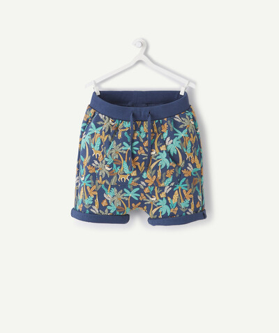 Shorts - Bermuda shorts family - NAVY BLUE TROPICAL PRINT BERMUDA SHORTS IN ORGANIC COTTON