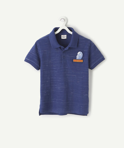Shirt - Polo radius - NAVY BLUE MARL SHORT-SLEEVED POLO SHIRT