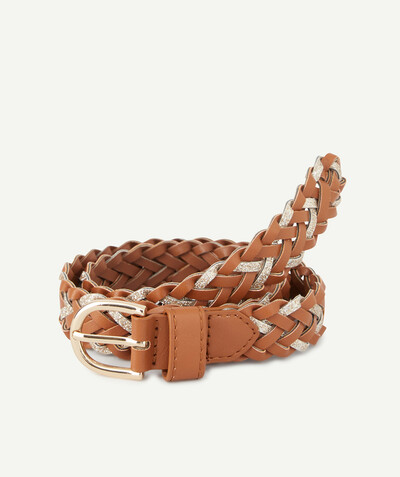 Special occasions' accessories radius - PLAITED CAMEL AND SEQUINNED BELT