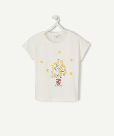 ECODESIGN radius - CREAM T-SHIRT IN ORGANIC COTTON WITH YELLOW FLOWERS IN RELIEF