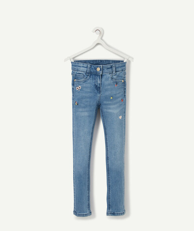Spring looks ideas radius - SKINNY STONEWASHED JEANS WITH EMBROIDERED FLOWERS
