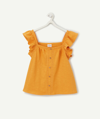 ECODESIGN radius - MUSTARD YELLOW T-SHIRT IN ORGANIC COTTON WITH FRILLY SHOULDER STRAPS
