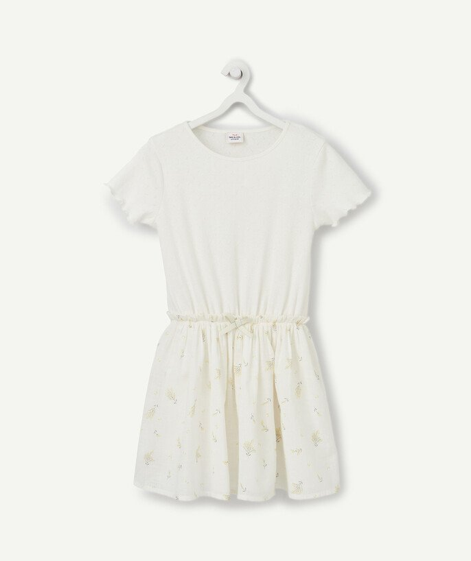 Dress radius - WHITE LACY AND FLOWER-PATTERNED SKATER DRESS IN COTTON