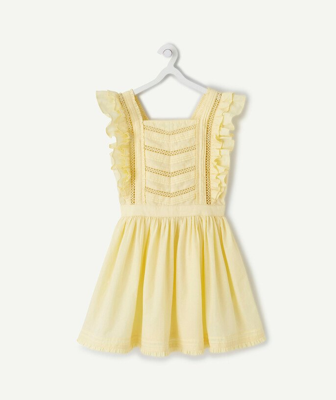 Dress radius - YELLOW COTTON DRESS WITH CROCHET AND FRILLS