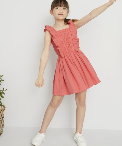 All Collection radius - CORAL DRESS IN COTTON WITH BRODERIE ANGLAIS