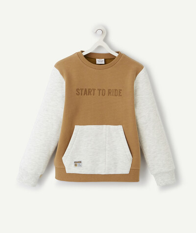 Collection ECODESIGN Rayon - LE SWEAT COLOR BLOCK BEIGE EN COTON BIOLOGIQUE
