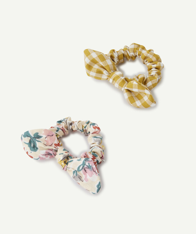 Accessories radius - TWO FLOWER-PATTERNED AND CHECKED HAIR SCRUNCHIES