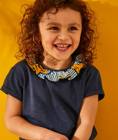 TAO X PANAFRICA radius - GIRLS' T-SHIRT IN ORGANIC COTTON WITH A WAX COLLARETTE