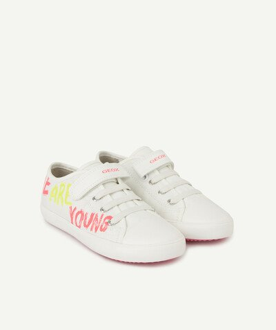 GEOX ® radius - GEOX ® - WHITE LACE-UP LOW TOP TRAINERS WITH FLUORESCENT DETAILS