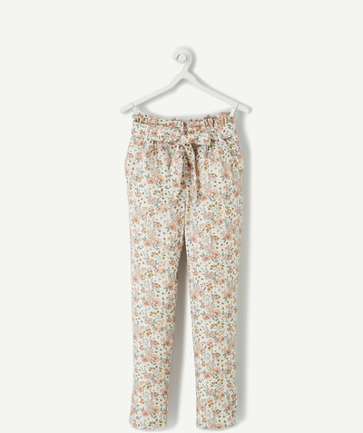 Spring looks ideas radius - FLUID WHITE AND FLOWER PATTERNED TROUSERS IN VISCOSE