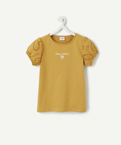 Spring looks ideas radius - MUSTARD T-SHIRT IN ORGANIC COTTON WITH BRODERIE ANGLAIS