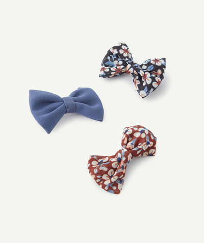 Special occasions' accessories radius - SET OF THREE HAIR CLIPS WITH BOWS, PLAIN AND FLOWER-PATTERNED