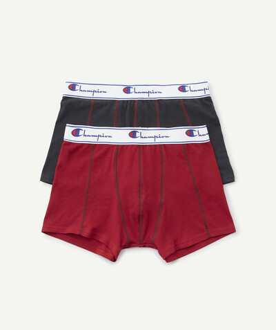 Sportswear radius - CHAMPION ® - TWO PAIRS OF GREY AND RED BOXER SHORTS