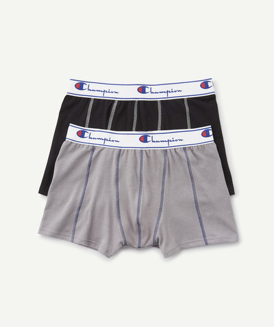 Sportswear radius - CHAMPION ® - TWO PAIRS OF GREY AND BLACK BOXER SHORTS