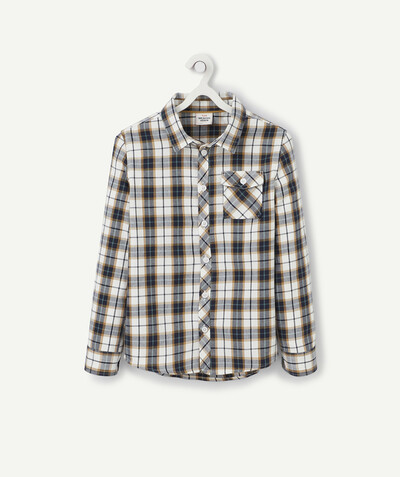 Shirt - Polo radius - NAVY BLUE AND MUSTARD CHECKED SHIRT