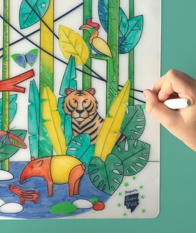 SUPER PETIT ® Rayon - SUPER PETIT® - LE SET DE TABLE À COLORIER EFFAÇABLE JUNGLE
