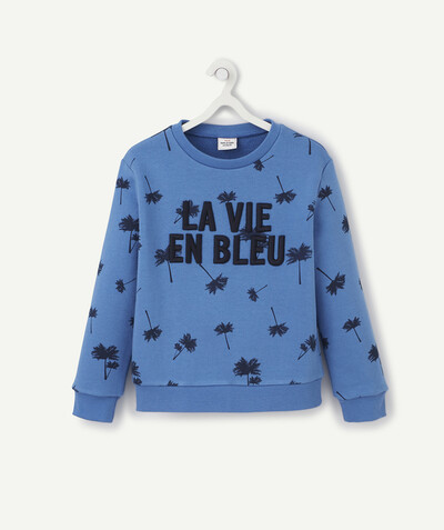 Sweat Rayon - LE SWEAT BLEU PALMIERS AU MESSAGE EN RELIEF