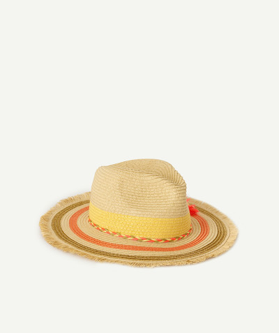 All Collection radius - STRAW HAT WITH A COLOURED PLAITED BAND