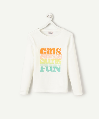 Toute la collection Rayon - LE T-SHIRT BLANC EN COTON AVEC ANIMATION MULTICOLORE