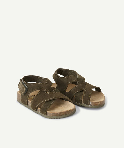 All collection radius - KHAKI FIRST STEPS SANDALS IN SUEDE LEATHER