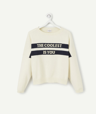 Toute la collection Rayon - LE PULL ÉCRU À MESSAGE