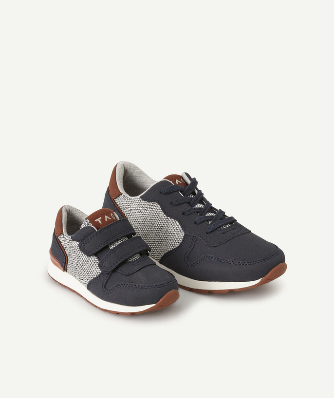 Shoes, booties radius - GREY AND BLUE SNEAKERS IN TWO MATERIALS