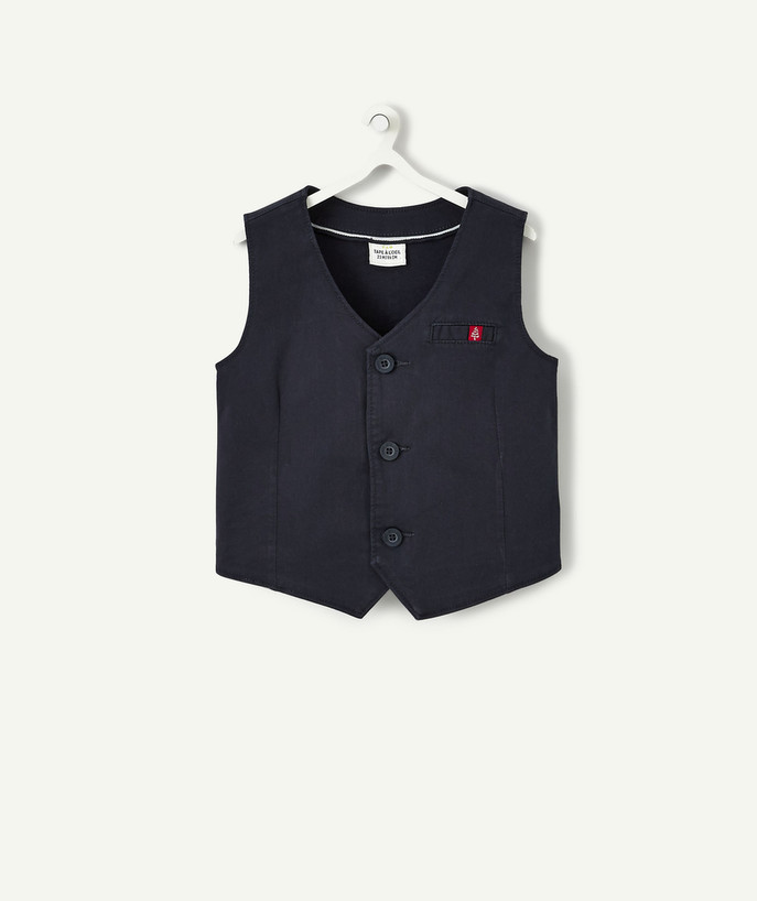 Coat - Padded Jacket - Jacket radius - BLUE COTTON SLEEVELESS WAISTCOAT