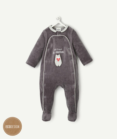 All collection radius - GREY ORGANIC COTTON VELVER SLEEPSUIT