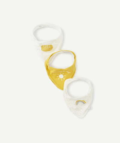 Essentials : 50% off 2nd item* family - PACK OF THREE TRIANGULAR CREAM AND YELLOW BIBS