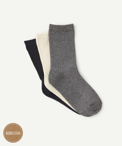 Accessories radius - PACK OF THREE PAIRS OF RIBBED SOCKS IN RECYCLED FIBRE