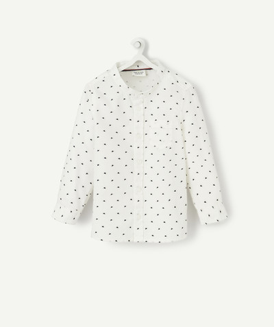 All collection radius - WHITE SHIRT WITH A GRANDAD COLLAR AND PRINTED SUN PATTERN