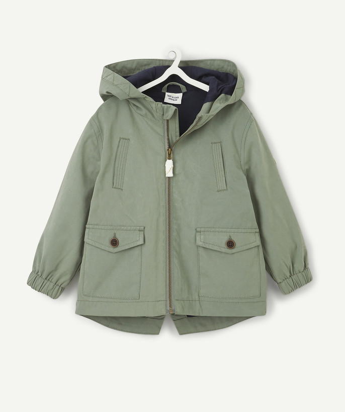 Coat - Padded Jacket - Jacket radius - KAKI PARKA LINED IN JERSEY