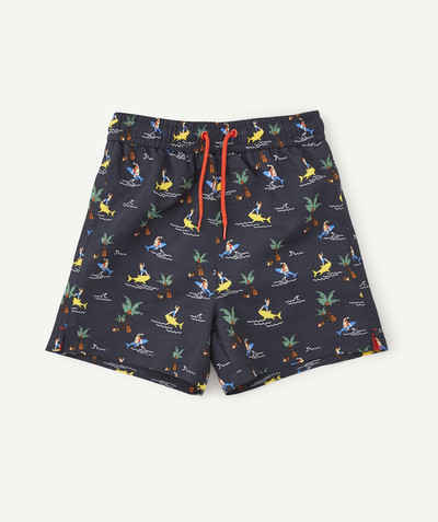 Swimwear family - NAVY BLUE SWIMMING SHORTS WITH FUN DESIGNS