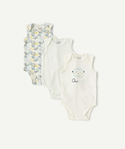All collection radius - PACK OF THREE VEST-STYLE BODIES IN ORGANIC COTTON