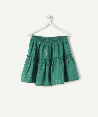 Outlet radius - CIRCLE SKIRT IN GREEN WITH SPARKLING BANDS