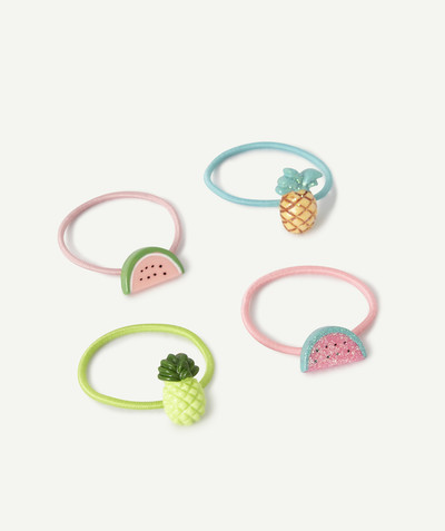Baby-girl radius - FOUR ELASTICS WITH PASTEL-COLOURED FRUITS