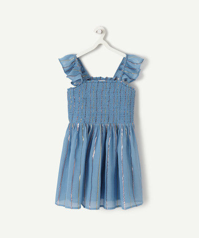 Dress radius - BLUE SMOCKED DRESS WITH SPARKLING STRIPES