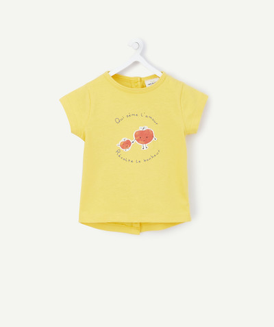All collection radius - YELLOW T-SHIRT WITH A STITCHED DESIGN