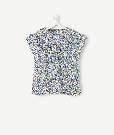Shirt - Blouse radius - FLOWER-PATTERNED BLUE BLOUSE WITH FRILLS