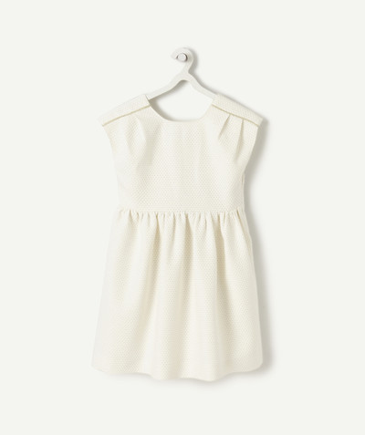 Dress radius - CREAM PIQUE DRESS WITH A CROSSOVER BACK